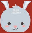 merry christmas celebration cute rabbit head vector image vector image