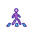 moving man on pedestrian crossing icon vector image vector image