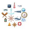 nautical icons set cartoon style vector image