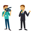 news reporter guy being recorded by camera man vector image