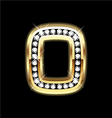 Number zero bling gold and diamonds vector image vector image