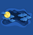 paper cut night sky dreamy background with moon vector image vector image