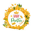 pasta menu template icons of italian pastry food vector image vector image