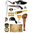 pirates adventure set 13 icons on white vector image
