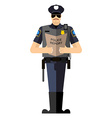 Policeman with a report of a standing ovation The vector image
