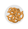 pretzel on plate top view beer snack on dish food