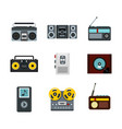 record player icon set flat style vector image vector image