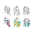 set hand drawn hairstyles sketch fashion vector image vector image