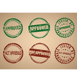 Set of stamps for approved not approved vector image vector image