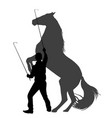 silhouette of a man training horse to rear up vector image vector image