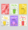 smoothie flyers colorful detox juices fresh vector image vector image