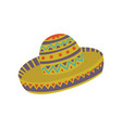 sombrero hat with mexican ornament cartoon vector image vector image