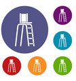 tennis tower for judges icons set vector image vector image