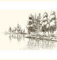 trees on lake shore or river bank drawing vector image vector image
