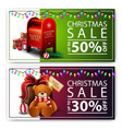 two discount christmas banners with santa vector image
