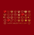valentines day background with gold heart vector image vector image