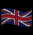 waving great britain flag collage of hatch chick vector image
