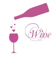 wine bottle with wine glass and sparkles vector image vector image