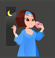 woman in blue nightgown eating donut in kitchen vector image