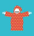 death in pajamas grim reaper in color hood cloak vector image