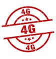 4g round red grunge stamp vector image