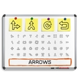 Arrows hand drawing line icons vector image vector image