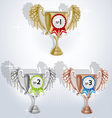 Award goblets gold silver and bronze with rosettes vector image