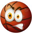 Basketball with angry face vector image vector image