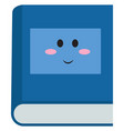 blue book with eyes on white background vector image vector image