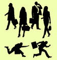 business men and women silhouette vector image