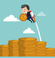businessman flying jetpack with coin vector image vector image