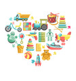 childish toys isolated objects in heart vector image vector image