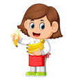 cute girl dressed like a chef holding bananas vector image vector image