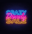 diwali crazy sale neon text design template vector image vector image