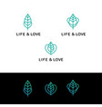 flat line heart and leaf monochrome blue icons vector image