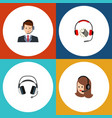 flat telemarketing set of hotline headphone vector image vector image
