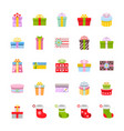 Gift box and christmas socks icon set in flat