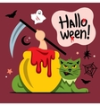 Halloween Green Cat Cartoon vector image