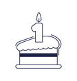 happy birthday slice cake with candle celebration vector image vector image