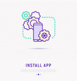 install app on smartphone thin line icon vector image vector image