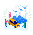 isometric ecology and green energy concept solar vector image vector image