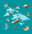 isometric marine logistics and worldwide vector image