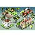 Isometric Tiles of South American Buildings vector image vector image