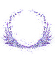 lavender flowers purple watercolor round frame vector image
