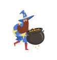 male sorcerer with cauldron of potion bearded vector image vector image