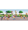Many children playing in the park vector image
