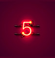 neon city font sign number 5 signboard five vector image vector image