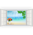 Open window with tulip flowers and leaf vector image vector image
