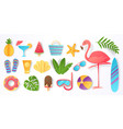 paper cut summer elements trendy tropical leaves vector image vector image