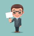 promotion advert stick cute businessman mascot vector image vector image